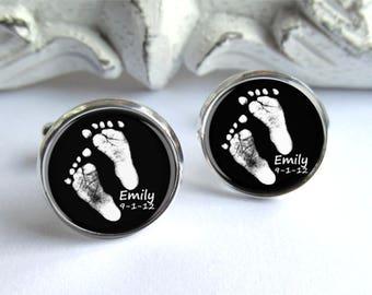 Fußabdruck-Manschettenknöpfe, personalisierte Geschenk für Papa, Baby Fußabdruck oder Handabdruck Manschettenknöpfe