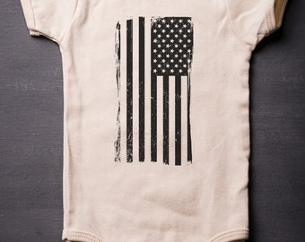 4th of July - American Flag - Baby Bodysuit - Patriotic ONESIES® - Screen Printed - Baby Clothes - MicroThreads Apparel - Patriotic Onesie