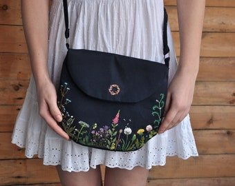 Handmade small bag   Embroidered purse   Floral small purse   Fabric small bag   Shoulder bag purse   Crossbody purse   Spring purse