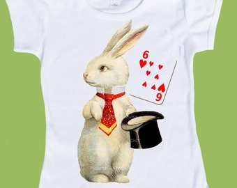 Magic Hat Bunny Rabbit, ANY card BIRTHDAY number,Adults, Toddler T-Shirt Birthday  One Piece Baby,Tank or tshirt by ChiTownBoutique.etsy