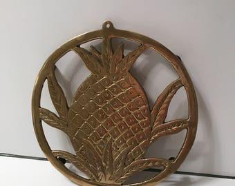Solid brass pineapple motif trivet