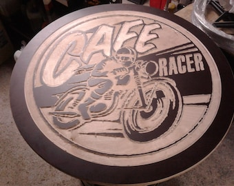 Cafe racer wooden table