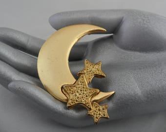 Antique Moon Brooch Crescent Moon Brooch Large Gold Broach Antique Crescent Brooch Moon and Star Brooch Celestial Brooch Gold Moon Pin