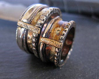 Wedding Band Set Viking Wedding Ring Rustic Mens Wedding Ring Unique Mens Wedding Band Gold Silver Ring Mens Wedding Bands Wedding Ring