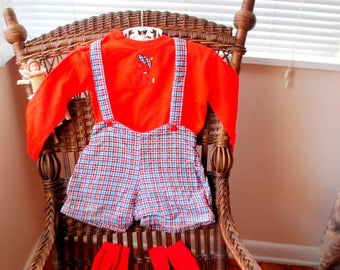 Mod vintage 60s cotton, acrylic clothing  set for the baby boy. Made by Windsor.Size 24 m.