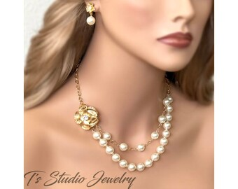 Romantic Flower and Pearl Bridal Necklace and Earrings Set - Available in Gold or Silver