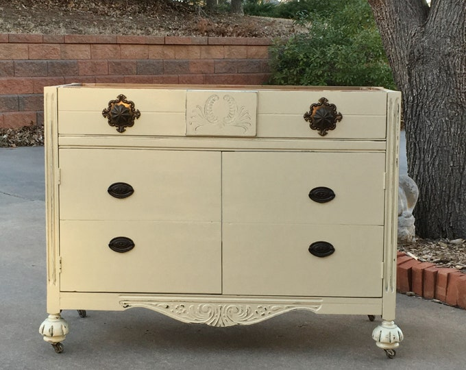 """BATHROOM VANITY To Custom Order! Antique Dresser We Will Convert Into Bath Cabinet! ~ 28"""" to 48"""" Wide ~ Shabby Chic Painted"""