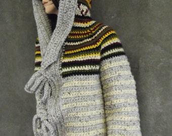 Crochet Jacket,Vintage pattern,Clothing,Women,Winter Coats,Wool blend,Grey Tweed,Black,Burgundy,Green,Gold,Hooded,VERY warm,Heavy coat,Beige