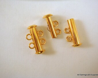 2 Gold Plated Slide Lock Clasp 2 Strand Plated Brass 16x6mm - 2 pc - 5745-14