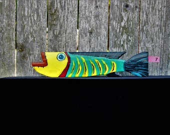 Lady Lips Wooden Painted Fish   Porch Art   Dock Art   Patio Art   Wall Art