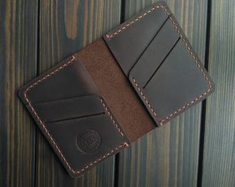 Best friend gift for dad Brown card holder Boyfriend gift Small thin wallet Card case gift Mini Wallet for card case FREE PERSONALIZATION