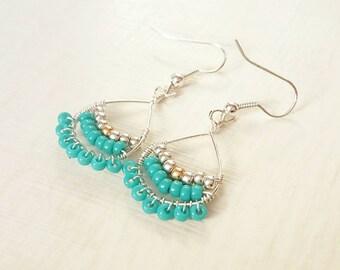 Turquoise boho earrings, beaded earrings, gifts for her, boho jewellery, ethnic earrings, wire wrapped jewelry, silver earrings