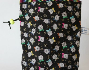 Small drawstring project bag cats in bow ties