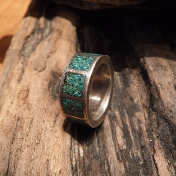 Vintage Sterling Silver Navajo Turquoise Ring Native American Heavy 6.8 grams Size 4.75 Sterling Ring large Silver Navajo Turquoise Ring
