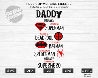 Superhero Daddy, SVG, PNG, DXF, Vinyl Design, Circut, Cameo, Cut File, Dad Decal, Dad shirt, Fathers Day svg, Dad Svg, Father Svg, Super Dad
