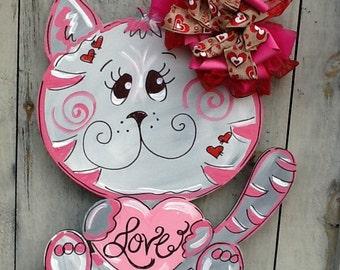 Valentines sign, valentines door hanger, valentines kitten sign, kitten door sign, valentines heart sign, valentines card, valentines decor