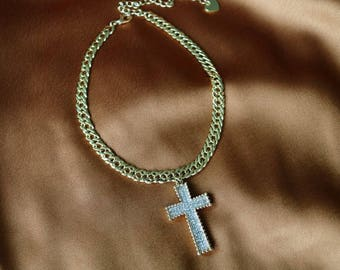 Sugar Baby Cross Chain - Gold Choker - Rosary - Religious - Chain Choker