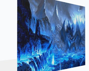 Fantasy Ice Blue Dragon  Canvas Print  Wall Art Ready To Hang Or Poster Print