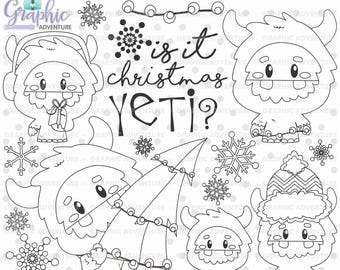 Yeti Stamps, Yeti Winter Stamps, Christmas Stamps, COMMERCIAL USE, Digi Stamp, Digital Image, Yeti Coloring Page, Monster Stamps