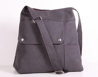 Shoulder Bag ...Everyday Bag ,Gray Canvas with Purple lining,Adjustable Strap