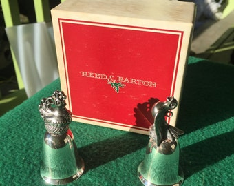 Reed & Barton - 12 Days of Christmas Silverplate Bells with Box -  1978 French Hens and Calling (Colly) Birds