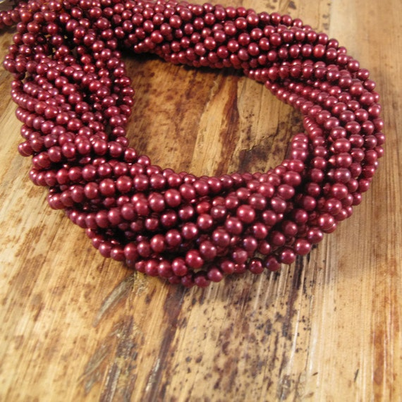 Red Freshwater Pearl Beads, Deep Rose Potato Pearls, 4mm - 4.5mm, 15 Inch Strand, Over 100 Pearls for Making Jewelry (P-P4)