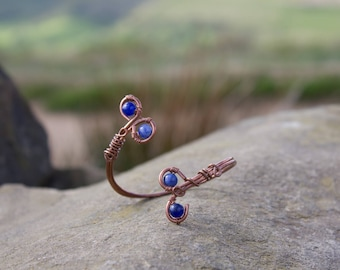 Copper wire cuff with Sodalite beads, adjustable bracelet, healing crystal jewellery, gemstone cuff, forearm bracelet