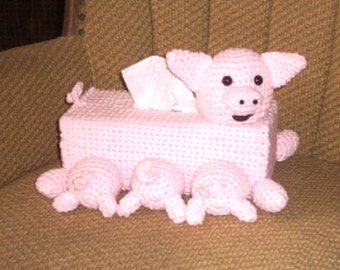 Pig and Babies Tissue Box Cover Crochet Childs Room Decor Farmyard Animals Gift for Farmer or Framhand
