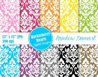 Digital Damask, Damask Digital Paper, Bright Damask