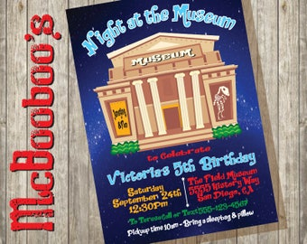 Night at the Museum Birthday Party Invitations Printable or Printed for you