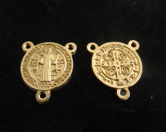 Gold Saint Benedict Rosary Center - Italian made