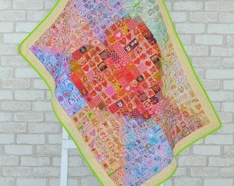 Heart Mosaic Quilt/ Organic Quilt/ Unisex Boy Girl Quilt/ Baby Toddler Kid Quilt/ Organic Hemp Quilt