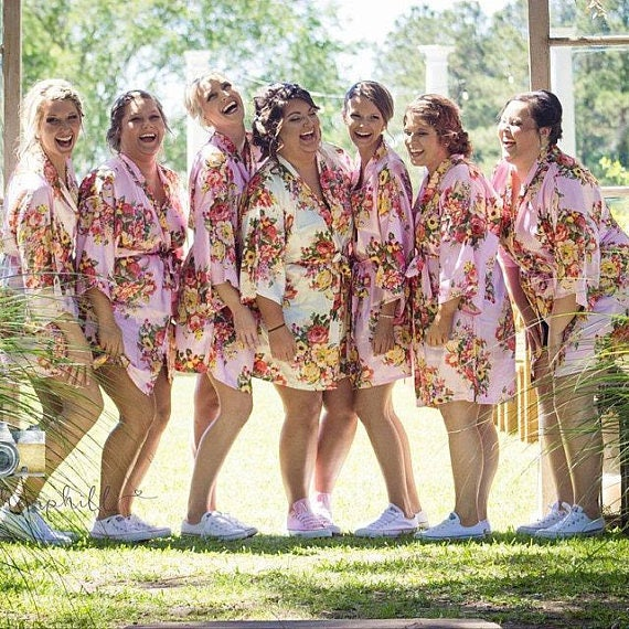 Silk Robe Party Robes Bridal 13 Gifts Robe Party Robes Bridesmaids Satin Bridesmaids of Robes Floral Floral Set Silk Wedding Floral 4HZqzTw