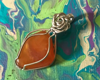 Carnelian & Sterling Silver Necklace with Rose accent