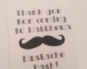 Set of 24 Personalized Mustache Bash Baby Shower Birthday Party Favor Tags Gift Tags
