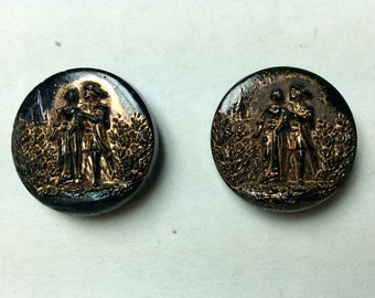 Pair of Antique Black Glass Picture Buttons Lucy And Edgar