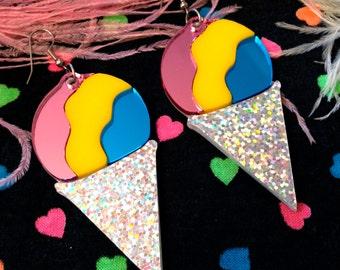 Rainbow Snow Cone Laser Cut Acrylic Earrings, Laser Cut Acrylic, Plastic Jewelry
