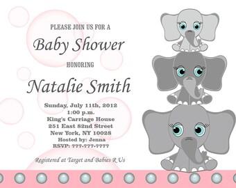 Pink Baby Shower Invitation Elephant Girl Baby Shower Invitation Pink and Gray Baby Girl Shower Invitation Invites (l4) Free Thank You Card
