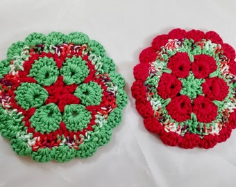 Set of Two Holiday Pot Holders Vintage Christmas