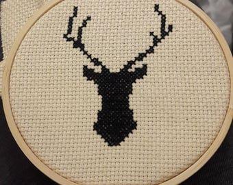 Stag head cross stitch complete, modern cross stitch complete, cross stitch finished, wizard cross stitch, Magic cross stitch