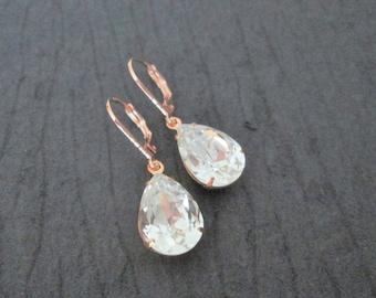 NEW Rose Gold Swarovski Earrings/Rose Gold Bridesmaid Jewelry/Clear Crystal Swavroski Earrings/Rose Gold Earrings/Rose Gold Wedding Jewelry