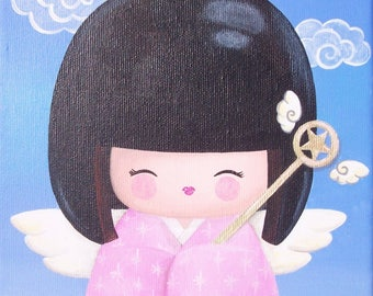 Acrylic painting on canvas: Angel kawaii (kokeshi)