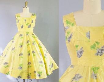 1950s Silk Floral Dress | Extra Small (30B/24W)
