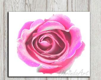 Flower print Wall decor Hot pink Home decor Pink flower decor Rose wall art Printable Poster print Digital flower art Abstract DOWNLOAD