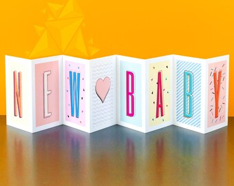 New Baby Concertina Card; Personalised Baby Card; Personalised Baby Card; Baby Girl Card; Baby Boy Card; Gender Neutral; CC040