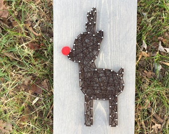 MADE TO ORDER String Art Small Reindeer Sign