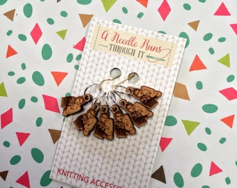 Rosie Stitch marker set, snag free stitch markers. Rosie the Riveter stitch markers for knitting. Snag Free Stitch markers, Feminist