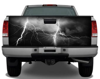 Lightning Storm Black Sky Tailgate Wrap Vinyl Graphic Decal