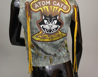 Atom Cats Denim Vest - Rocker Vest - Post Apocalyptic Jacket - Heavy Metal Clothing - Biker Vest - MADE TO ORDER