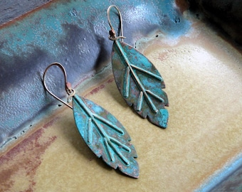 Patina Leaf earrings